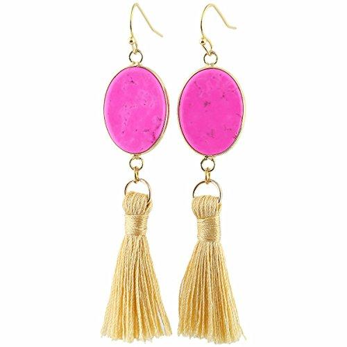 TUMBEELLUWA Tassel Dangle Earrings Rectangle Shape Healing Crystal Quartz Fringe Thread Drop Earring Handmade Jewelry for Women,Hot Pink Howlite Turquoise