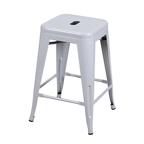 Adeco 24-inch Metal Bar Stools Barstool Tolix Style Industrial Chic Chair, Silver Grey, Set Of 2