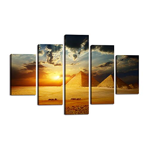 - Desert Pyramid Landscape Wall Art Vintage Egyptian Pyramids HD Print on Canvas Desert Camel Walking in the Sunset Paintings Pictures Artwork Home Decor for Living Room Framed Ready to Hang (60