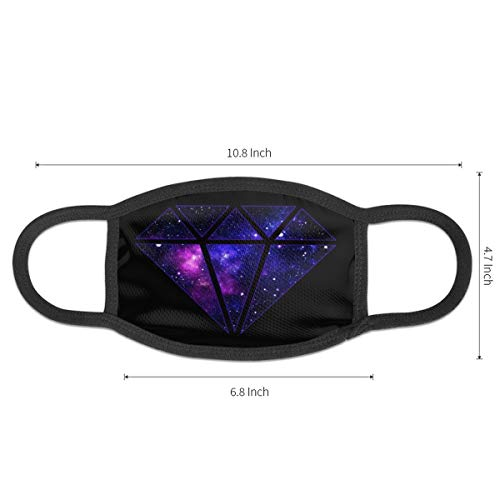Dust Mask Diamond Purple Galaxy Antiviral Face Mask Cover Anti-dust Reusable Windproof Half Face Mouth Warm Masks for Ski Bicycle Cycling Motorcycle Women Men