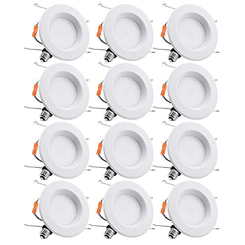 TORCHSTAR 12-Pack 5-6 Inch Dimmable Recessed LED Downlight with Smooth Trim, 15W (90W Eqv.), CRI 90, UL, 5000K Daylight, 1250lm, Retrofit Lighting, 5 Years Warranty