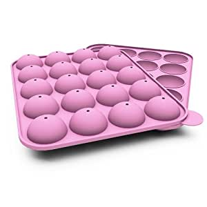 Silicone Cake Pop Molds - Pink BPA Free Nonstick Flexible Durable Odorless - Baking or Freezing - Bitesize Fancy Round Cakes, Chocolate, Brownie, Pastry - Kit Includes 20 Starter Sticks Free - Oven, Microwave, Dishwasher, Freezer Safe - 100% Lifetime Guarantee