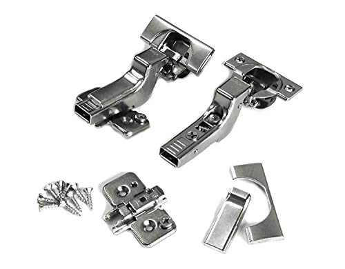 Blum CLIP top BLUMOTION Soft Close Hinges, 110 degree, Self Closing, Frameless, with Mounting Plates (Inset - 8 Pack)