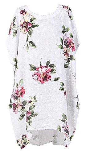 Gracious Girl Nouveau Mesdames Italienne Floral OU Polka Dot Lin Baggy Top Femmes Summer Lagenlook Top Plus Tailles Blanc