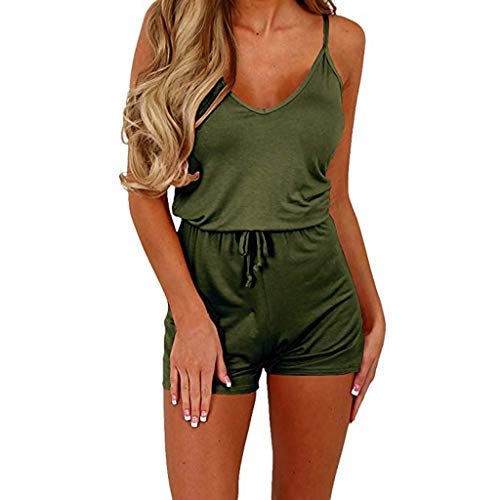 (Womens Solid Jumpsuits, Casual Fall Sleeveless Waist Drawstring Short Playsuit Ladies Comfy Beach Party Rompers❤️Sumeimiya)