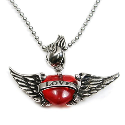 Stainless Steel Red Heart Cupid Flying Wings Love Pendant (Red Cupid Wings Costume)