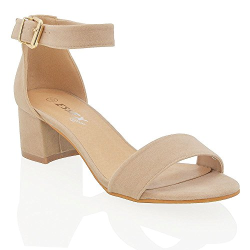 ESSEX GLAM Womens Block Low Heel Peep Toe Ladies Buckle Ankle Strap Sandals Shoes Size 3-8 Nude Faux Suede XQA1QCe
