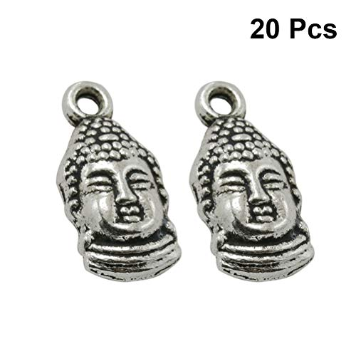 - TENDYCOCO Craft Pendants Charms Buddha Head Retro Alloy DIY Jewelry Making Accessory for Necklace Bracelet (Antique Silver) 20pcs