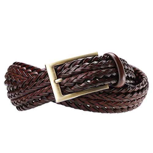 Handmade Woven Belt - Tanpie Fashion Men's Braided Belt Leather Strap for Jeans M Brown