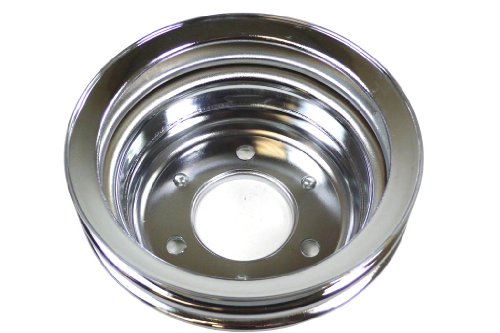 Racer Performance Ford Small Block Chrome Steel Crankshaft Lower Pulley - 2 Groove