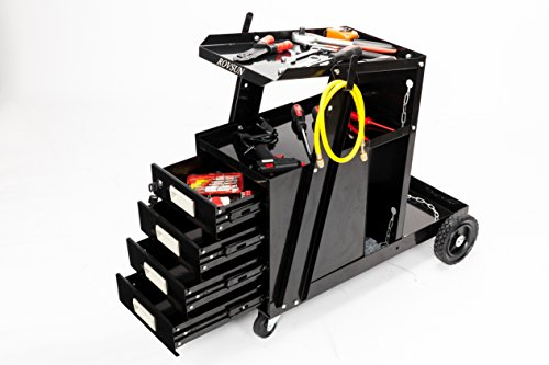 ROVSUN 4-Drawer Welder Cabinet Welding Heavy Duty Cart MIG TIG ARC Plasma Cutter Trolley Universal Storage for Tanks With 100 LBS Capacity, 360°Silent Wheels, 2 Safety Chains and Powder-Coat Bl by ROVSUN