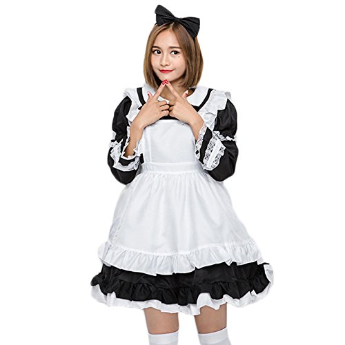 KN Halloween AdultΧld Anime Cosplay French Apron Maid Fancy Dress Costume ()