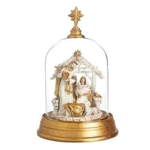 Ivory Goldtone 9.5 Inch Glass Dome Cloche Tabletop Diorama ()