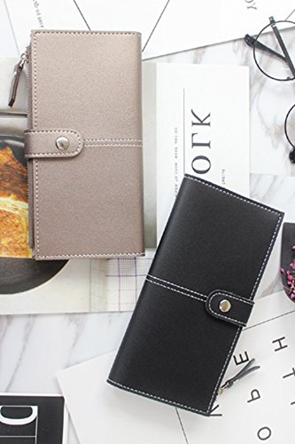 Simple Solid Zipper Hasp Design Ladies Wallets (Black) - 4