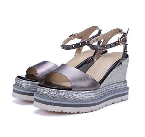Coin Hauts Plein Gris Toe Femmes Forme en Chaussures Outdoor de Rivets en à Mode de Super Sandales Sandales Talons Sandals Chaussures d'été ZXMXY air Talons à vF1axqq