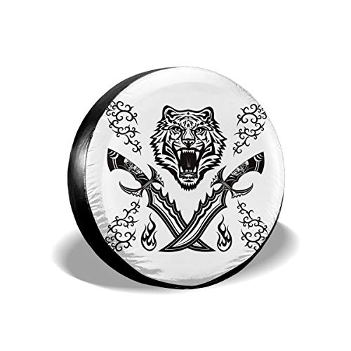 JUSTFORU Spare Tire Covers Cross Dagger Tiger Head Waterproof Polyester Wheel Protectors Universal for Jeep Trailer RV SUV Truck Camper (14,15,16,17 Inch) (Pick Up The Cross And Follow Me)