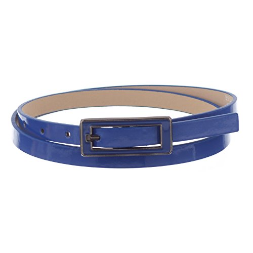 Xcessoire Womens Skinny Leather Belt with Matching Square Belt Buckle - Solid Color PU Leather Belts (X-Large, - Jeweled D-ring