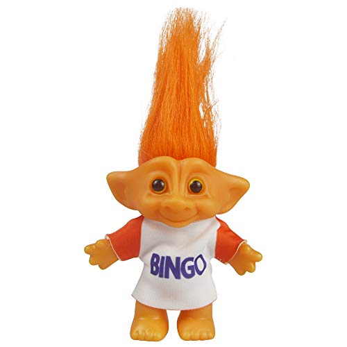 Vintage Troll Dolls, Lucky Doll Chromatic Adorable for Collections, School Project, Arts and Crafts, Party Favors - 7.5 Tall(Include The Length of Hair) (Orange)