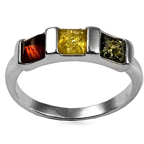 rling Silver Square Stones Ring (Grand Flora Stone)