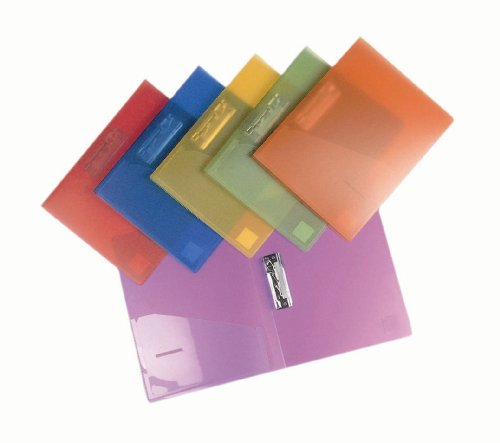 Filexec 6192, Clamp Binder, Frosted, Set of 6, 6 Assorted Colors Blueberry, Strawberry, Grape, Lime, Lemon, (Clip Folder)