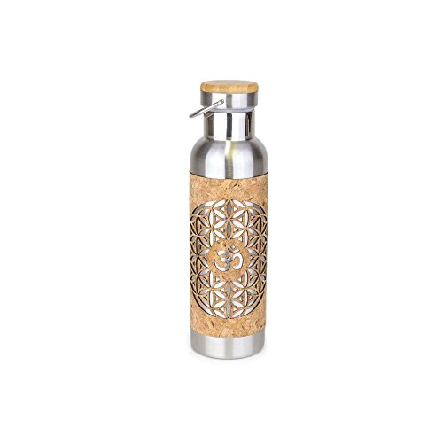 Yoloha Insulated Stainless Steel and Cork Water Bottle, 20 oz. (Eternal Circle) - BPA-Free, Lead-Free - Non-Slip, Sustainable, Soft, Durable, Premium, Handmade, Moisture Resistant