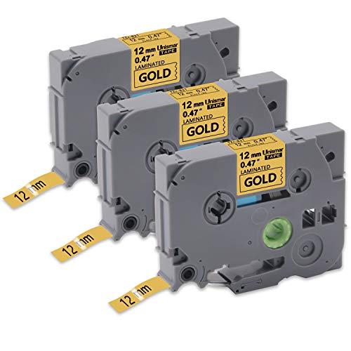 Unismar Tze-831 Tze Tape 12mm 0.47 Laminated Black on Gold Compatible for Brother P-Touch PT-D210 PT-D200 PT-D400 PT-H100 PT-H110 PT-D600 PT-1280 PT-1880 PT-1890C Label Maker, 1/2 x 26.2, 3-Pack