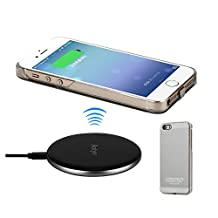 Antye Qi Wireless Charger for iPhone SE, iPhone 5S, iPhone 5 - Including Aluminum Wireless Charging Pad and Wireless Charging Receiver Case (Silver)