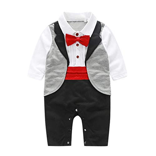 iHHAPY Infant Baby Boy Clothes,Wedding Party Gentleman Bowtie Swallowtail Romper Jumpsuit Outfits Red
