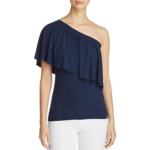 Three Dots Womens Ruffled One Shoulder Blouse Navy L