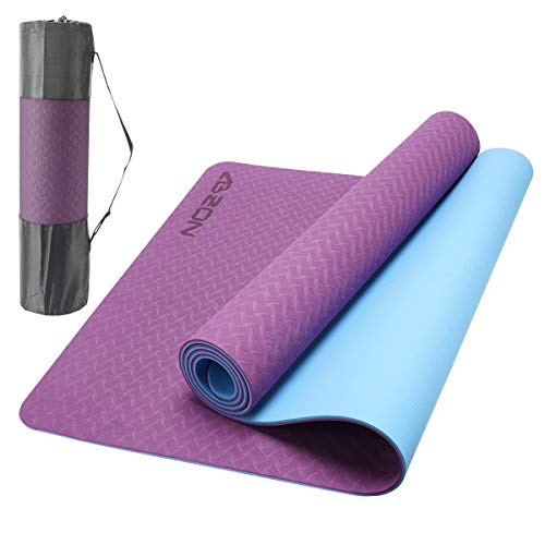 ABZON Premium Yoga Mat TPE Eco Friendly Non Slip Fitness Exercise Mat with Carrying Strap, Workout Mats for Yoga,Pilates…