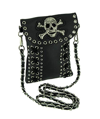 Studded and Stitched Rhinestone Skull Mini Crossbody Purse (Fold Flap Over Studded)