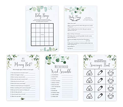 Premium Baby Shower Card Games Variety Pack - 5 Funny Party Game Pack for Boy, Girl, or Gender Reveal - Gender Neutral - Includes Classic Baby Shower Games Like Baby Bingo & Who Knows Mommy Best ()