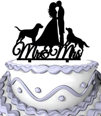 Amazon Com Meijiafei Kinssing Groom And Bride Two Dogs With Mrs Mr Silhouette Wedding Cake Topper Kitchen Dining