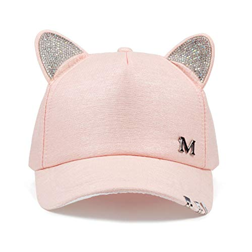 (New Meow Women's Summer Fall hat Cat Ears Cat Baseball Cap with Rings and lace Cute Girl hat Pink)
