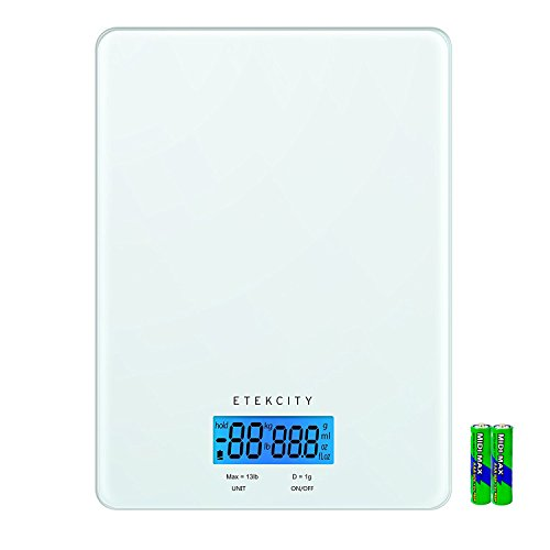 Digital Kitchen Scale, Etekcity Multifunction Food Scale With Liquid Measurement, Easy to (Glass Kitchen Scale)
