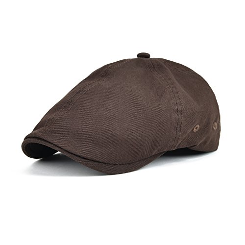VOBOOM Cotton Washing Flat Cap Cabbie Hat Gatsby IVY Irish Hunting newsboy - Gatsby Brown