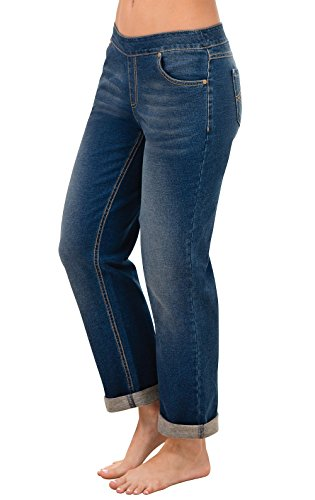 (PajamaJeans Women's Boyfriend Stretch Knit Denim Jeans, Bluestone, Large)