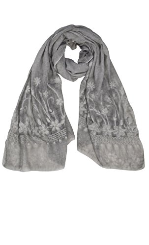 Richly Embroidered Silk (Peach Couture Lightweight Sheer Embroidered Scarf Shawl Wrap Grey)