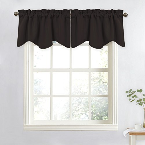 NICETOWN Blackout Tier for Small Window - 52 inches by 18 inches Scalloped Valance Curtain Decoration Window Treatment for Bathroom/Kitchen/Bay Window (Toffee Brown, Single Panel) (Bay Window Valances Window Treatments)