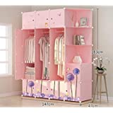 Yigui Portable Clothes Closet Wardrobe Bedroom Armoire Dresser Cube Storage Organizer,Space Saving,Ideal Storage Organizer,17Doors +8Grid + 3Hanging Sections