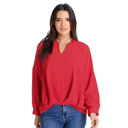ANJUNIE Women Casual Long Batwing Adjustable Sleeve Blouse Solid V-Neck Tops Shirt(Red,XL)