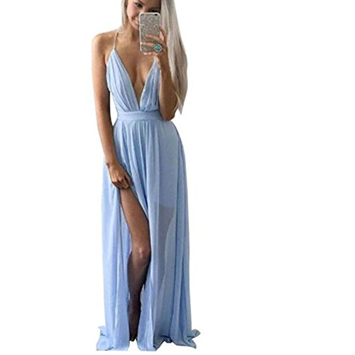 Vestido de mujer, Dragon868 Verano gasa V cuello sin mangas noche fiesta playa largo vestido de mujer Azul
