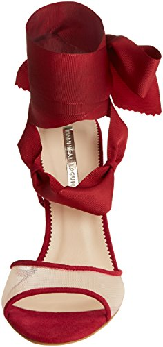 HANNIBAL LAGUNA Chantal, Sandalias con Tira de Tobillo para Mujer Rojo (Ante Carmín / Rejilla Nude)