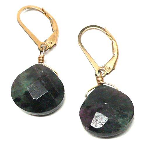 Earrings Briolette Ruby - Ruby in Zoisite Briolette Lever Back Earrings Gold-Filled