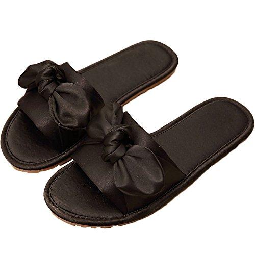 Sandali Btrada Slide Per Donna-papillon In Raso Slip On Flats-scarpe Antiscivolo E Traspiranti Nere