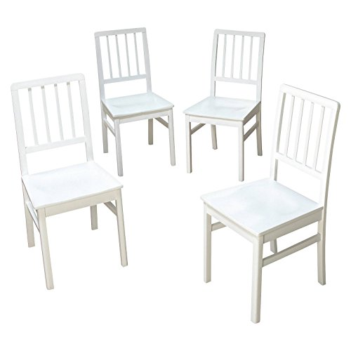 TMS Camden Dining Chair, White Wash, Set of 4