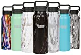 Healthy Human Insulated Stainless Steel Water Bottle Stein - Cold 24 Hours/Hot 12 Hours - Double Walled Vacuum Flask with Hydro Guide & Carabiner - 21 oz Black Onyx