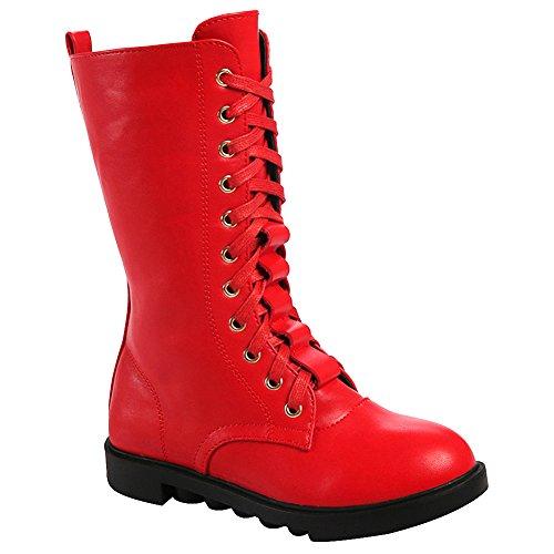 rismart Mädchen Mittleres Kalb Reißverschluss Mode Niedrige Ferse Tanzen Stiefel Rot