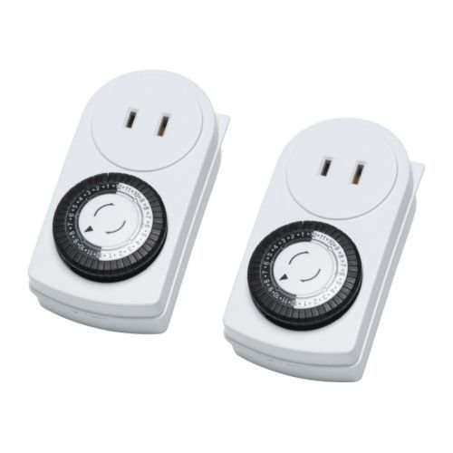 NEW Wall Outlet Timer 24 Hours Lights Lamp Save Ac Electronics Indoor Pack 2 (White) - - Amazon.com