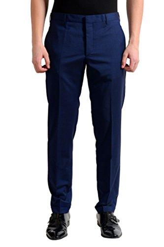 Prada Men's Wool Navy Blue Flat Front Dress Pants US 34 IT 50;